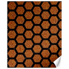 Hexagon2 Black Marble & Rusted Metal Canvas 16  X 20