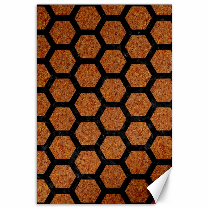 HEXAGON2 BLACK MARBLE & RUSTED METAL Canvas 20  x 30