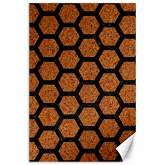 Hexagon2 Black Marble & Rusted Metal Canvas 24  X 36
