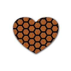 Hexagon2 Black Marble & Rusted Metal Rubber Coaster (heart)