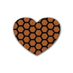 HEXAGON2 BLACK MARBLE & RUSTED METAL Rubber Coaster (Heart)  Front