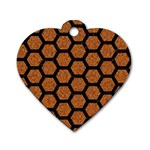 HEXAGON2 BLACK MARBLE & RUSTED METAL Dog Tag Heart (One Side) Front