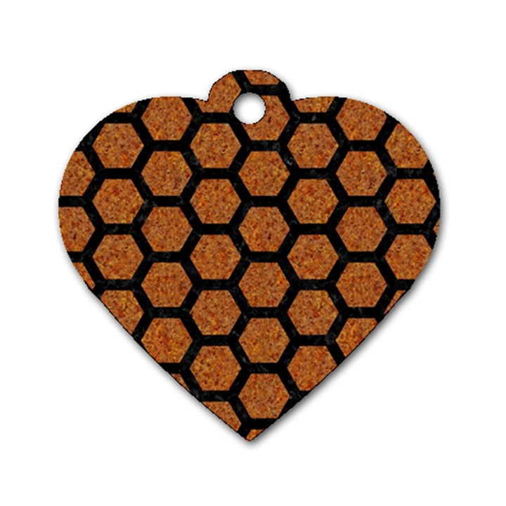 HEXAGON2 BLACK MARBLE & RUSTED METAL Dog Tag Heart (One Side)