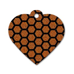 Hexagon2 Black Marble & Rusted Metal Dog Tag Heart (two Sides)