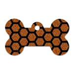 HEXAGON2 BLACK MARBLE & RUSTED METAL Dog Tag Bone (One Side) Front
