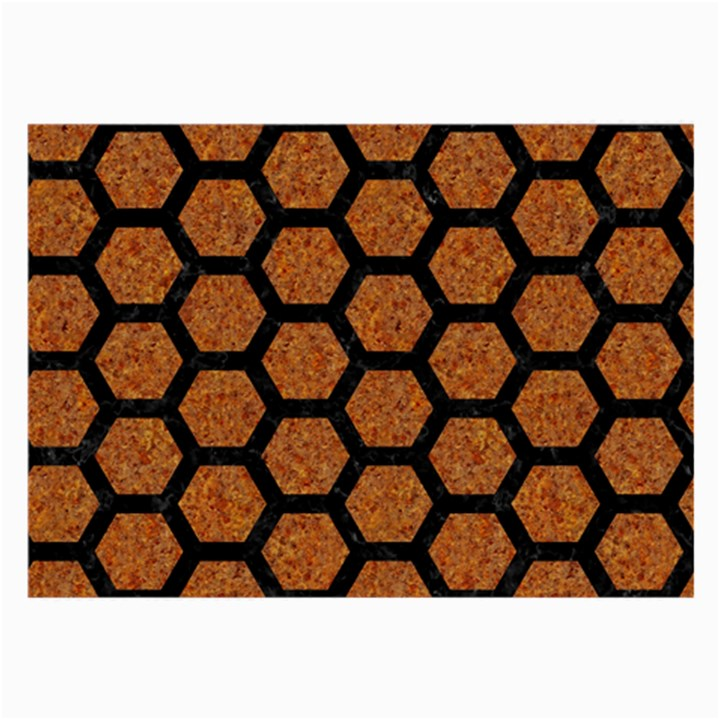 HEXAGON2 BLACK MARBLE & RUSTED METAL Large Glasses Cloth (2-Side)