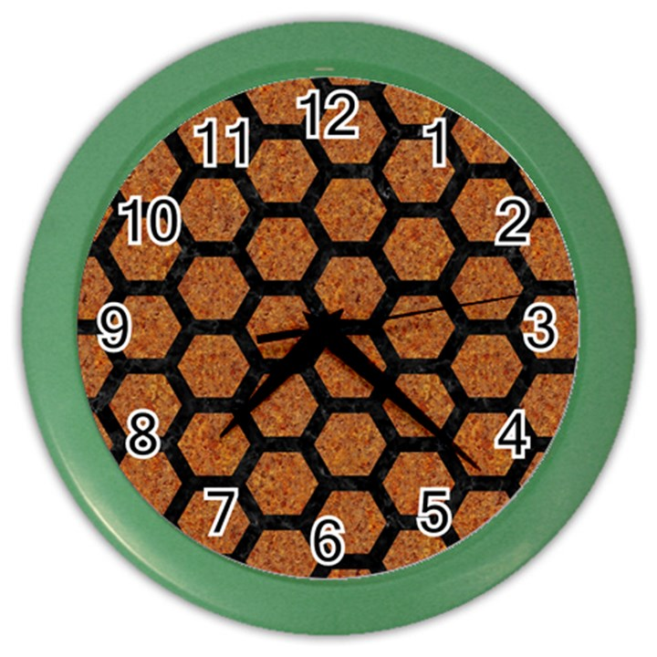 HEXAGON2 BLACK MARBLE & RUSTED METAL Color Wall Clocks