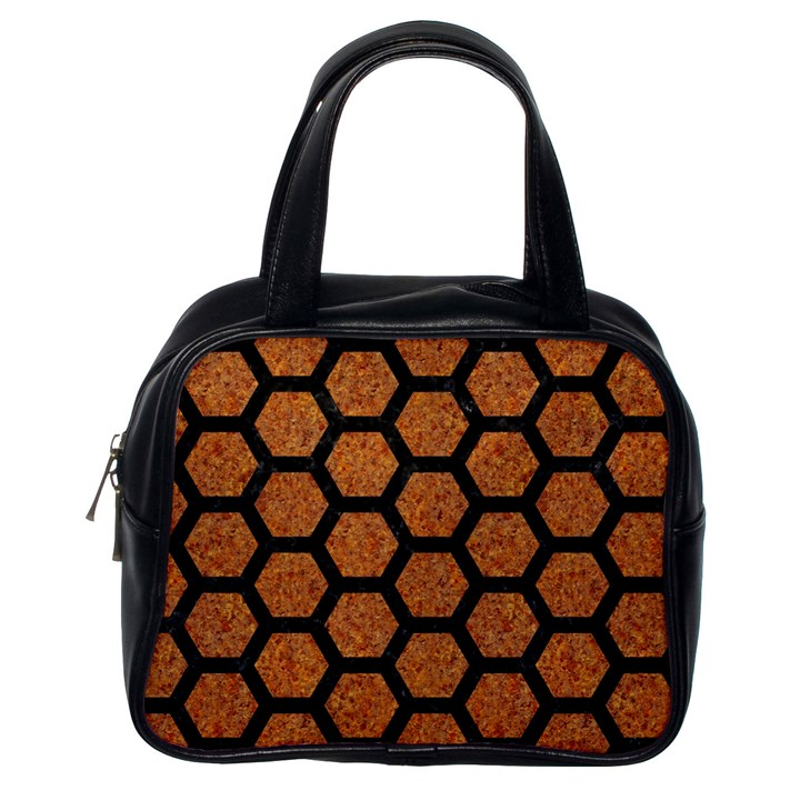 HEXAGON2 BLACK MARBLE & RUSTED METAL Classic Handbags (One Side)