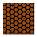 HEXAGON2 BLACK MARBLE & RUSTED METAL Face Towel Front