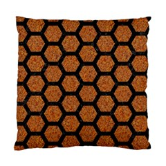 Hexagon2 Black Marble & Rusted Metal Standard Cushion Case (one Side)
