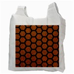 HEXAGON2 BLACK MARBLE & RUSTED METAL Recycle Bag (Two Side)  Back