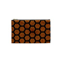Hexagon2 Black Marble & Rusted Metal Cosmetic Bag (small)