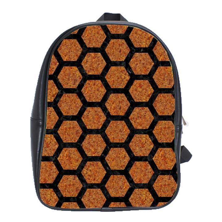 HEXAGON2 BLACK MARBLE & RUSTED METAL School Bag (Large)
