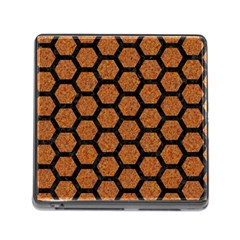Hexagon2 Black Marble & Rusted Metal Memory Card Reader (square)
