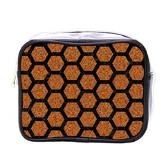 Hexagon2 Black Marble & Rusted Metal Mini Toiletries Bags