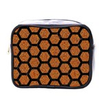 HEXAGON2 BLACK MARBLE & RUSTED METAL Mini Toiletries Bags Front