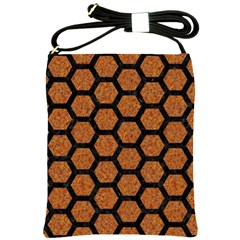 Hexagon2 Black Marble & Rusted Metal Shoulder Sling Bags