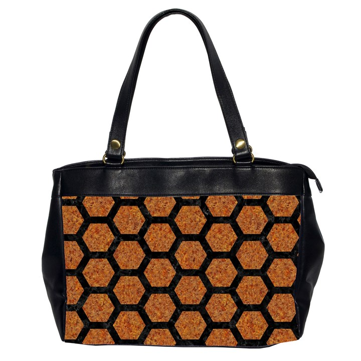 HEXAGON2 BLACK MARBLE & RUSTED METAL Office Handbags (2 Sides)