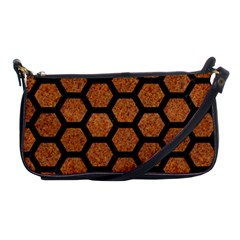 Hexagon2 Black Marble & Rusted Metal Shoulder Clutch Bags