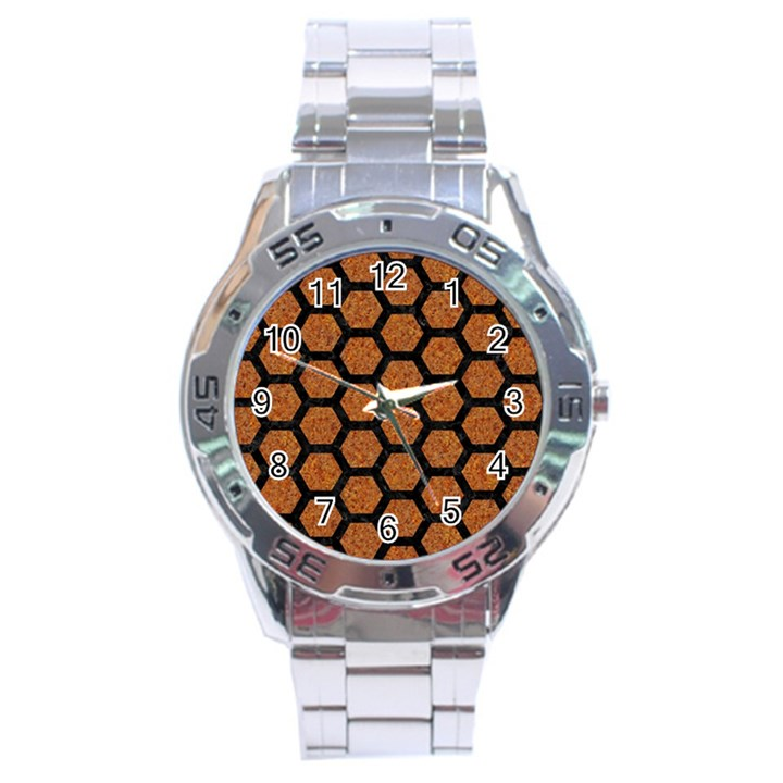 HEXAGON2 BLACK MARBLE & RUSTED METAL Stainless Steel Analogue Watch