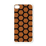 HEXAGON2 BLACK MARBLE & RUSTED METAL Apple iPhone 4 Case (White) Front