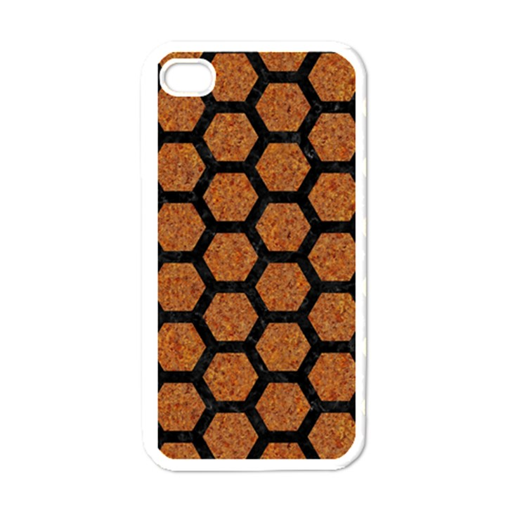 HEXAGON2 BLACK MARBLE & RUSTED METAL Apple iPhone 4 Case (White)