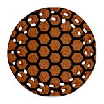 HEXAGON2 BLACK MARBLE & RUSTED METAL Ornament (Round Filigree) Front