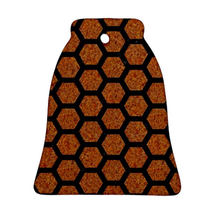 HEXAGON2 BLACK MARBLE & RUSTED METAL Ornament (Bell)