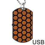 HEXAGON2 BLACK MARBLE & RUSTED METAL Dog Tag USB Flash (One Side) Front