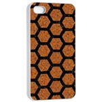 HEXAGON2 BLACK MARBLE & RUSTED METAL Apple iPhone 4/4s Seamless Case (White) Front