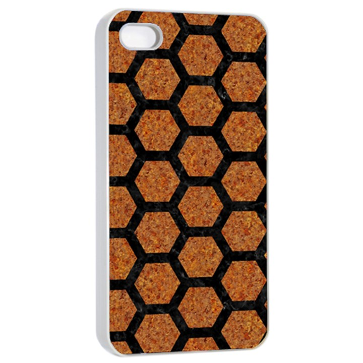 HEXAGON2 BLACK MARBLE & RUSTED METAL Apple iPhone 4/4s Seamless Case (White)