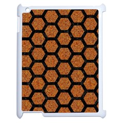 Hexagon2 Black Marble & Rusted Metal Apple Ipad 2 Case (white)