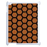 HEXAGON2 BLACK MARBLE & RUSTED METAL Apple iPad 2 Case (White) Front