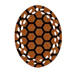 HEXAGON2 BLACK MARBLE & RUSTED METAL Ornament (Oval Filigree) Front