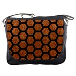 HEXAGON2 BLACK MARBLE & RUSTED METAL Messenger Bags Front