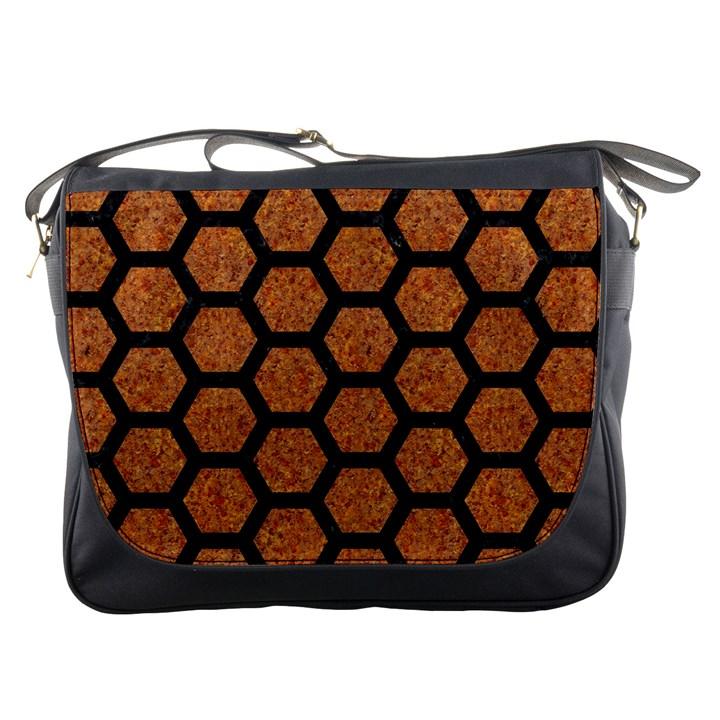 HEXAGON2 BLACK MARBLE & RUSTED METAL Messenger Bags