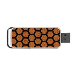 Hexagon2 Black Marble & Rusted Metal Portable Usb Flash (one Side)