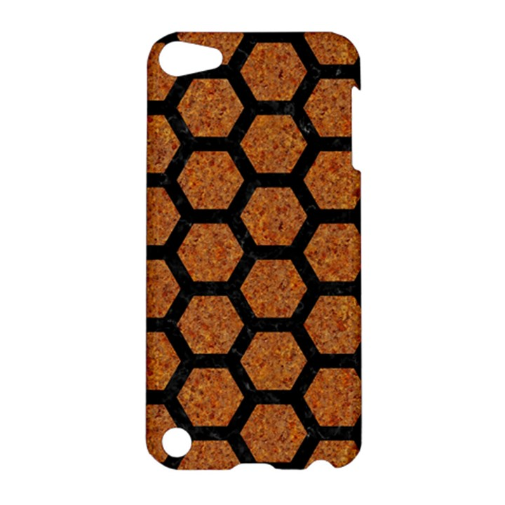 HEXAGON2 BLACK MARBLE & RUSTED METAL Apple iPod Touch 5 Hardshell Case