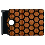 HEXAGON2 BLACK MARBLE & RUSTED METAL Apple iPad 2 Flip 360 Case Front