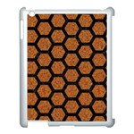 HEXAGON2 BLACK MARBLE & RUSTED METAL Apple iPad 3/4 Case (White) Front