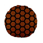 HEXAGON2 BLACK MARBLE & RUSTED METAL Standard 15  Premium Round Cushions Front