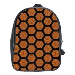 Hexagon2 Black Marble & Rusted Metal School Bag (xl)