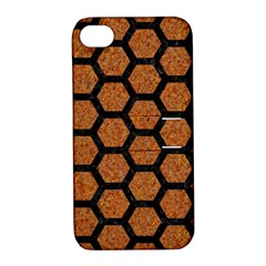 Hexagon2 Black Marble & Rusted Metal Apple Iphone 4/4s Hardshell Case With Stand