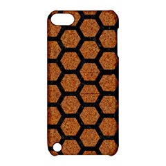 Hexagon2 Black Marble & Rusted Metal Apple Ipod Touch 5 Hardshell Case With Stand