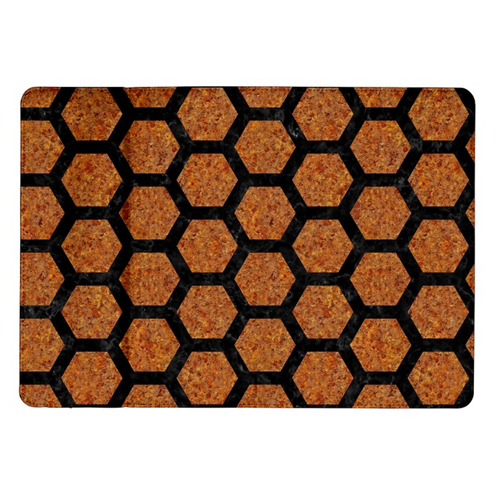 HEXAGON2 BLACK MARBLE & RUSTED METAL Samsung Galaxy Tab 10.1  P7500 Flip Case