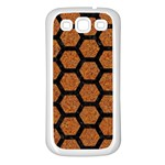 HEXAGON2 BLACK MARBLE & RUSTED METAL Samsung Galaxy S3 Back Case (White) Front