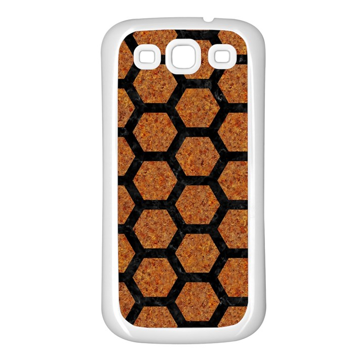 HEXAGON2 BLACK MARBLE & RUSTED METAL Samsung Galaxy S3 Back Case (White)