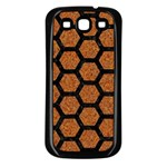 HEXAGON2 BLACK MARBLE & RUSTED METAL Samsung Galaxy S3 Back Case (Black) Front