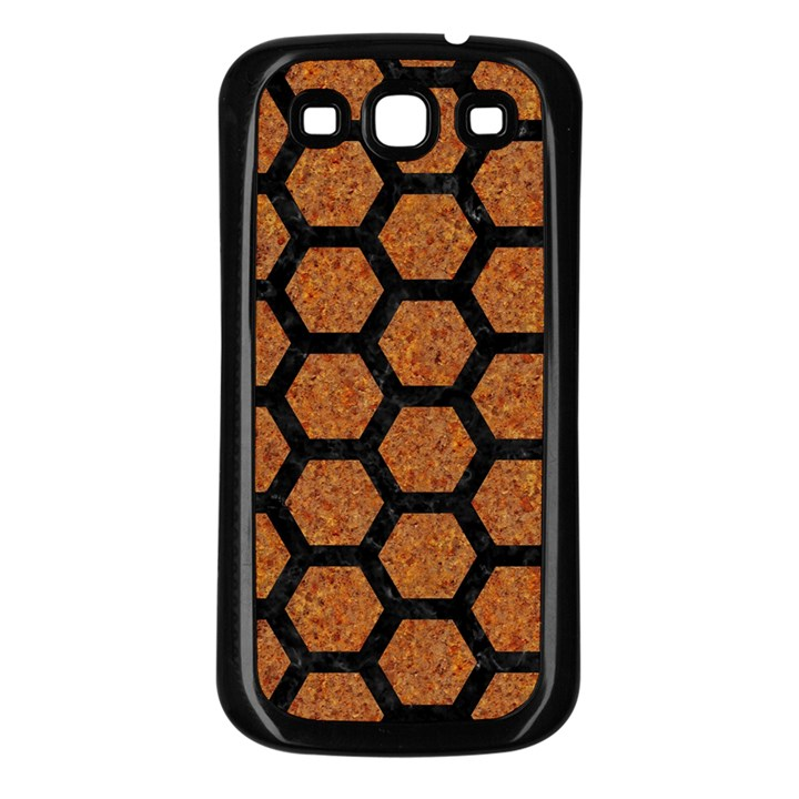 HEXAGON2 BLACK MARBLE & RUSTED METAL Samsung Galaxy S3 Back Case (Black)