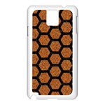 HEXAGON2 BLACK MARBLE & RUSTED METAL Samsung Galaxy Note 3 N9005 Case (White) Front
